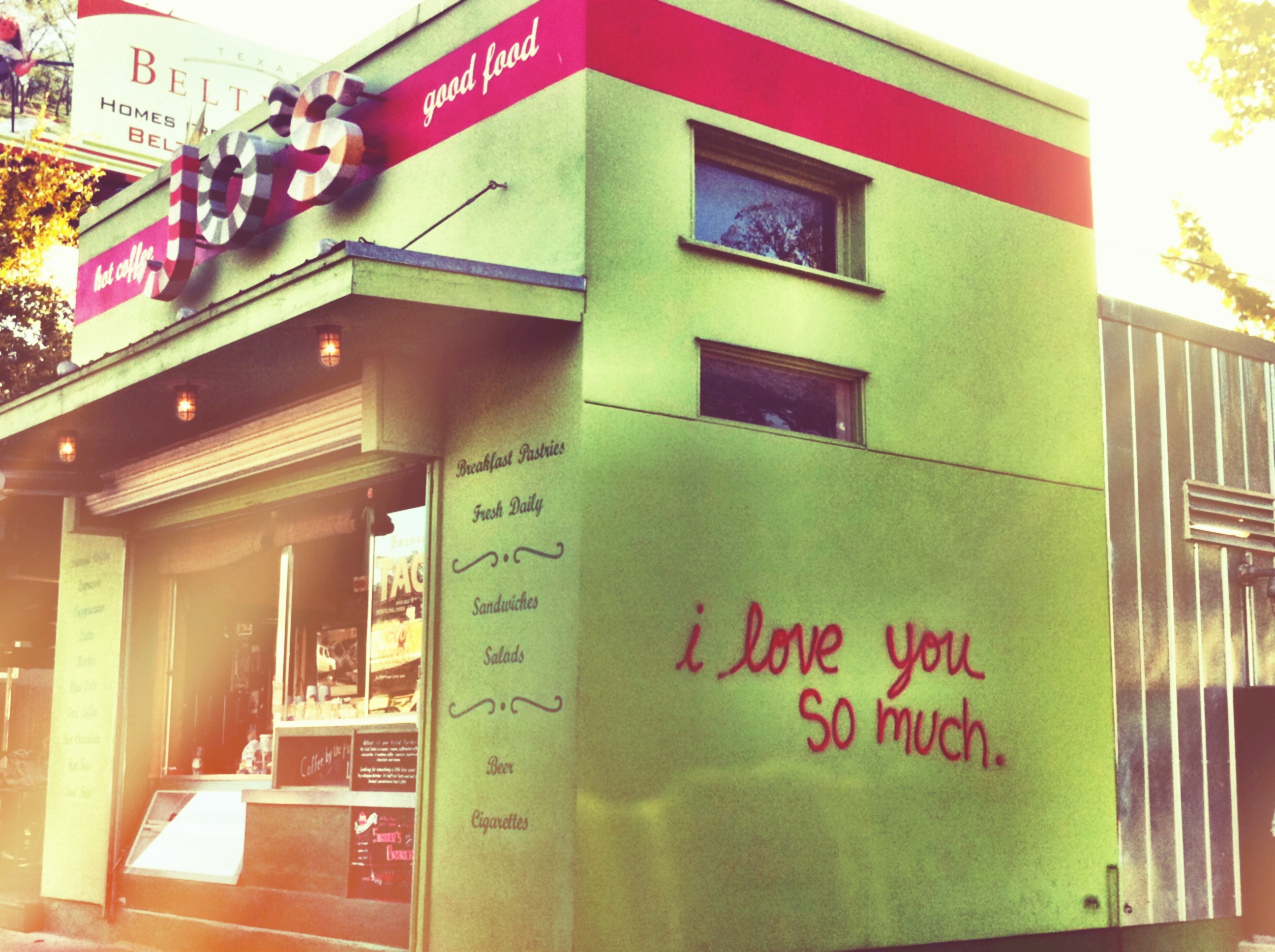 Iconic austin i love you and i love you more signs on for Austin mural wall