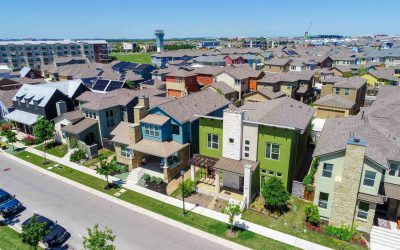 Colorful Mueller Suburb Solar Panel Rooftops and Modern Austin Living