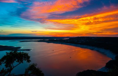 Sunset over Lake Travis in Austin Texas from The Oasis
