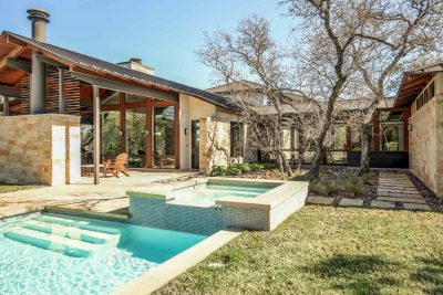 Backyard and pool of a contemporary-style Austin home