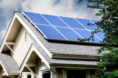 An Austin-area home with roof-mounted solar panels
