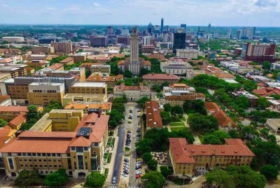 Drone view of the University of Texas at Austin Campus