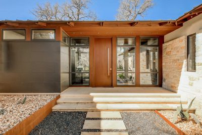 Entranceway of an Austin-area home done in mid-century modern style